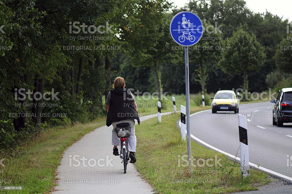 Cycle path and footpath royalty-free stock photo