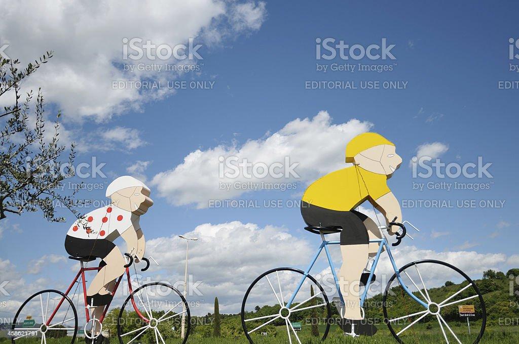 Cycle pursuit in the Tour de France stock photo