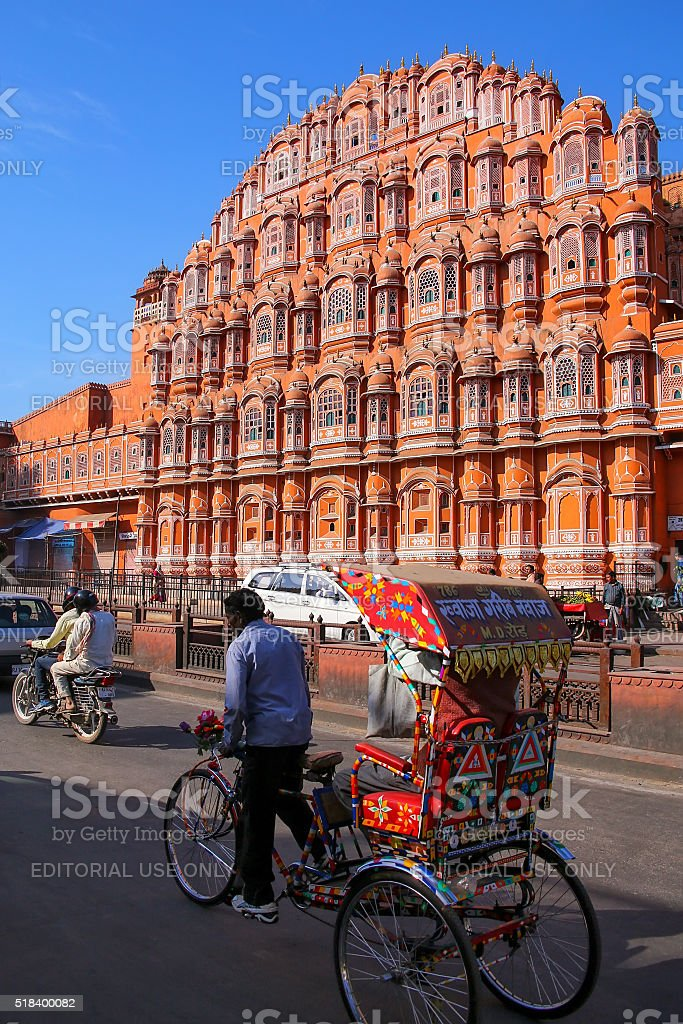 Cycle ricksaw in front of Hawa Mahal in Jaipur stock photo