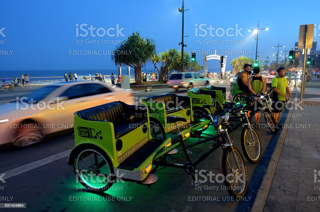 Cycle rickshaw cabs in Gold Coast Queensland Australia stock photo