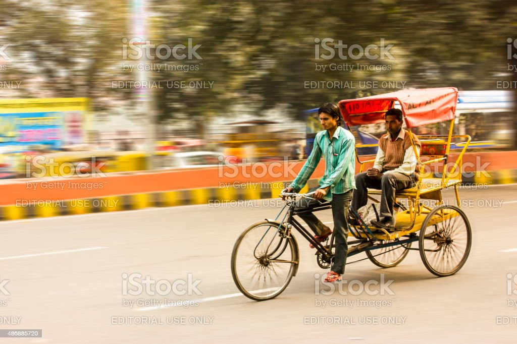 Cycle Rikshaw ride in Old Delhi, India stock photo