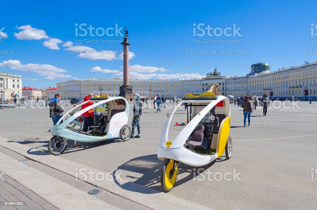 Cycle Taxi on Palace Square, St. Petersburg, Russia stock photo