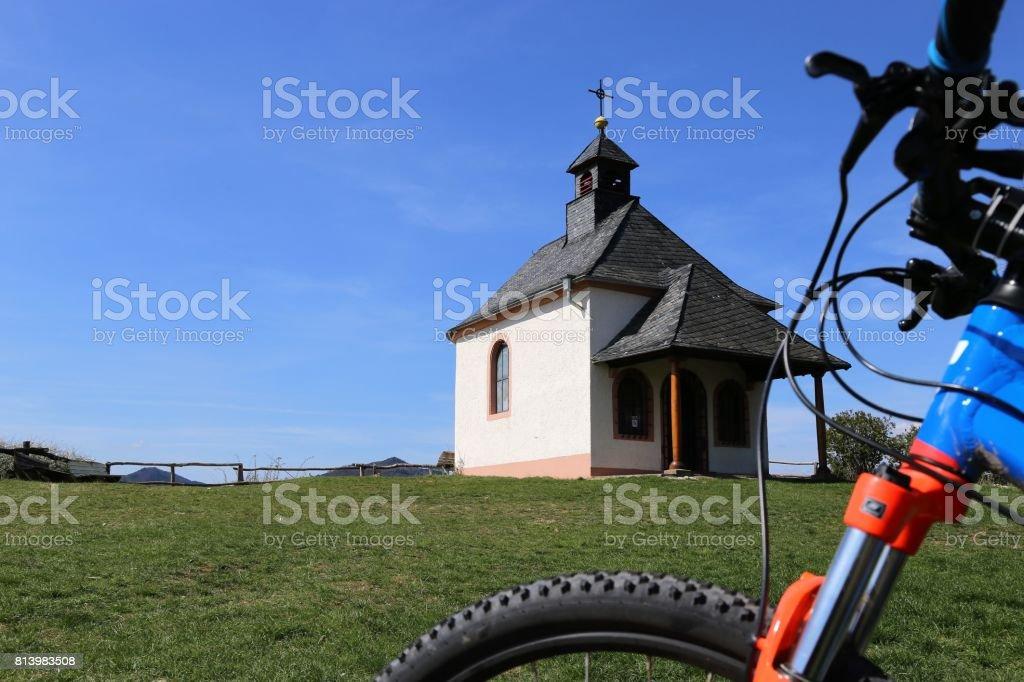 """Cycle tour to the """"kleine Kalmit"""" near Landau, Rhineland-Palatinate stock photo"""