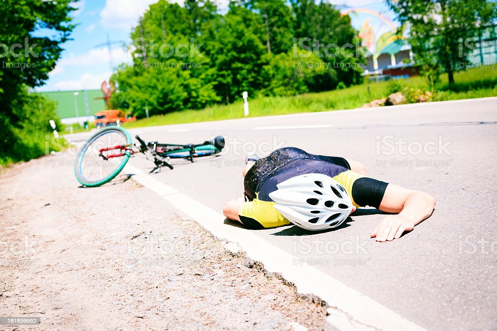 cycling accident royalty-free stock photo