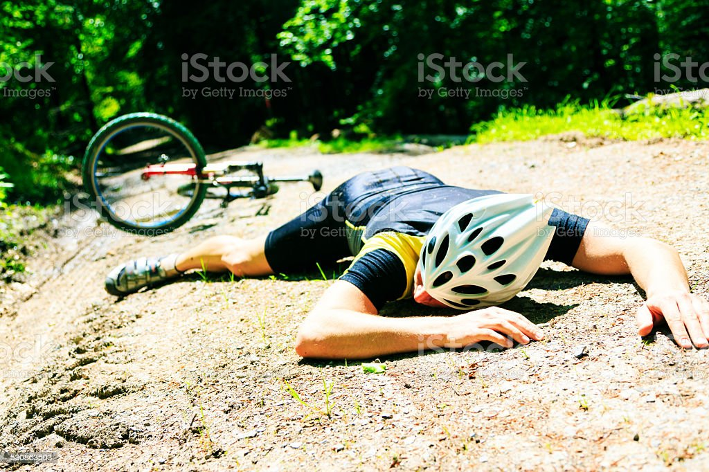 cycling accident stock photo
