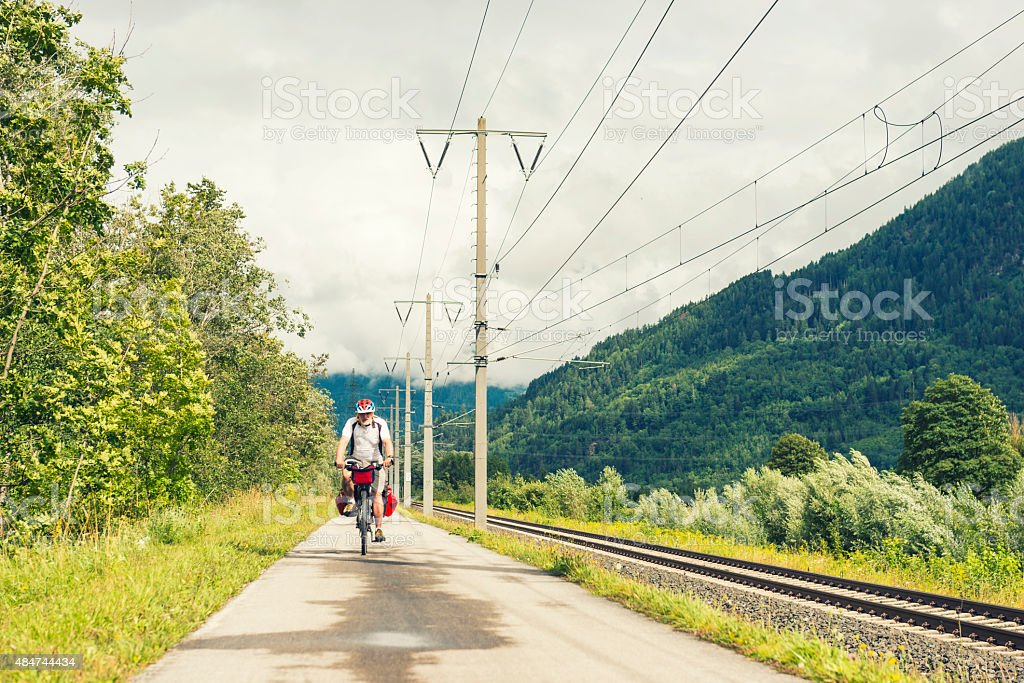 Cycling along the railway at Drava Cycling Route stock photo