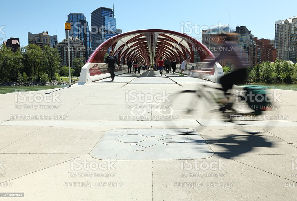 Cycling By The Peace Bridge royalty-free stock photo
