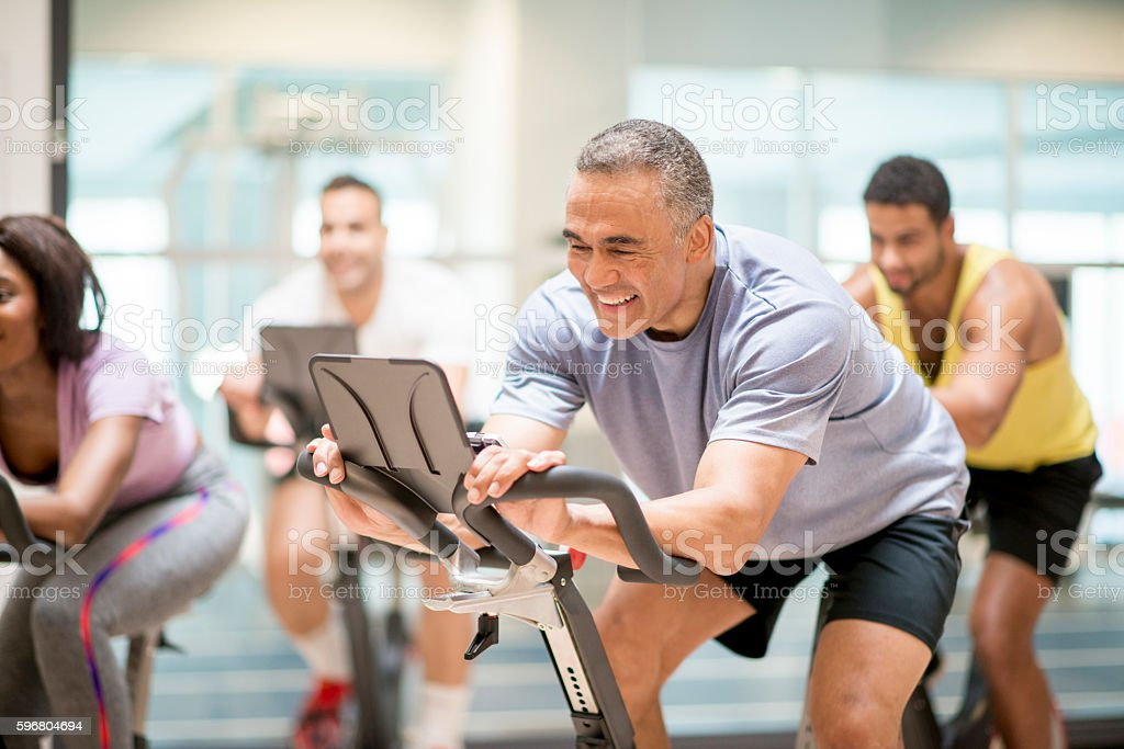 Cycling Class at the Gym stock photo