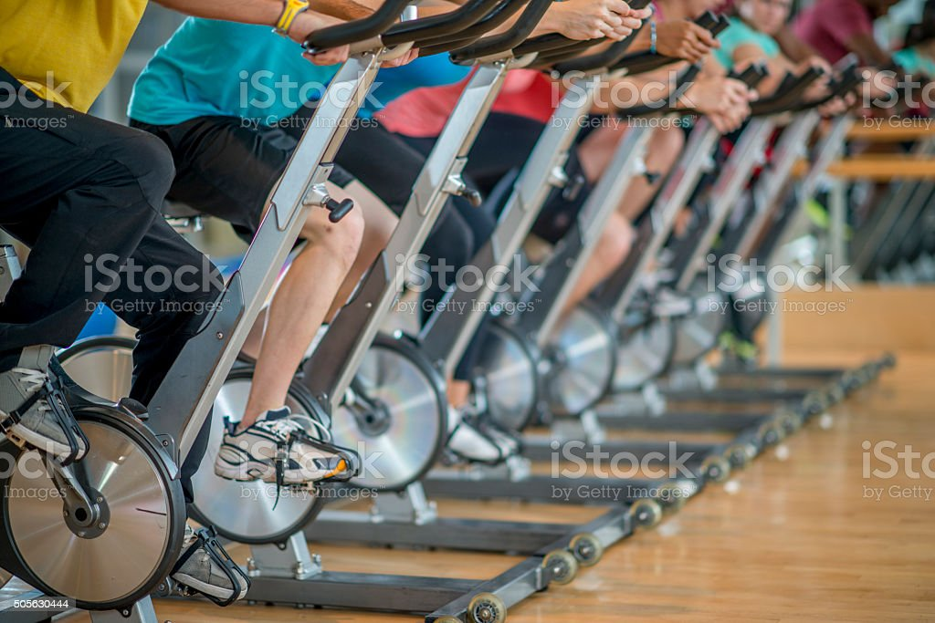 Cycling in a Fitness Class stock photo