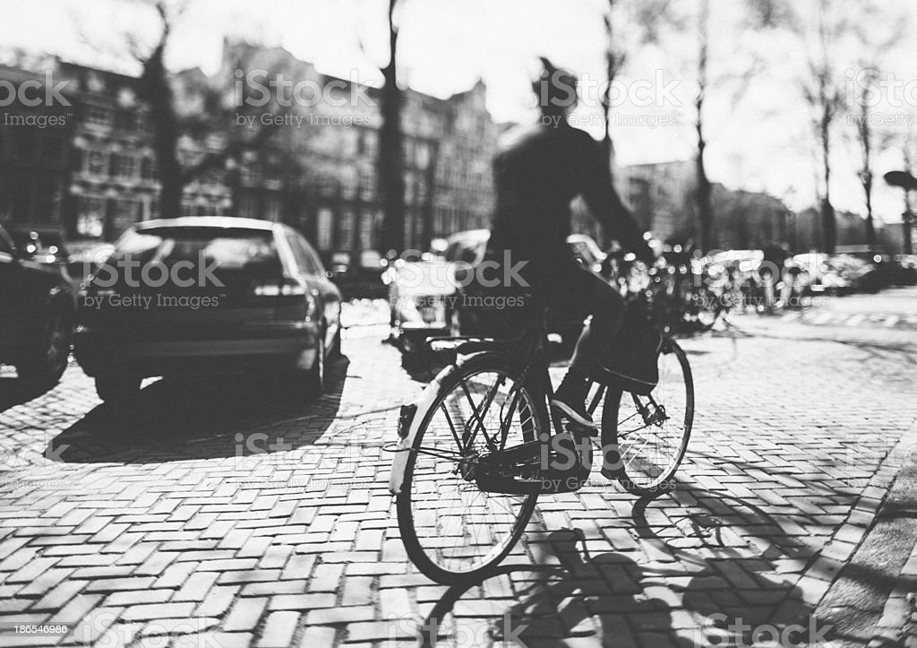 Cycling in Amsterdam royalty-free stock photo