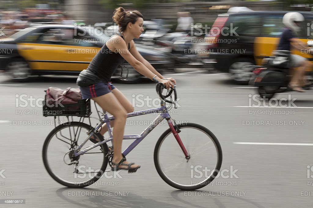 Cycling in Barcelona. royalty-free stock photo