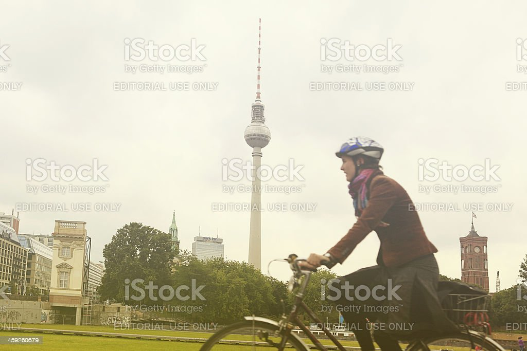 cycling in berlin royalty-free stock photo