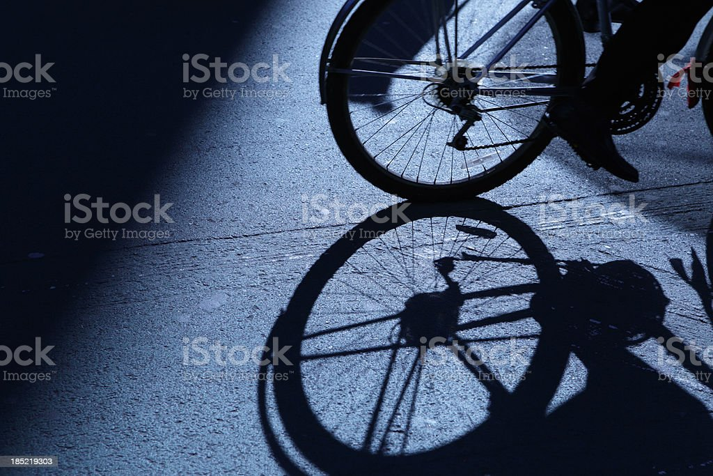 NYC cycling in blue night shadows royalty-free stock photo