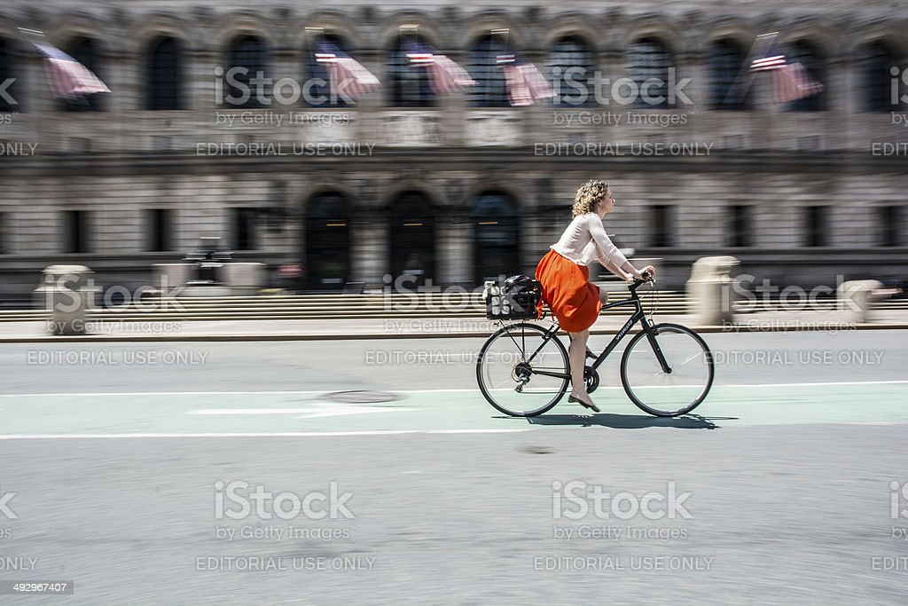 Cycling in Boston stock photo