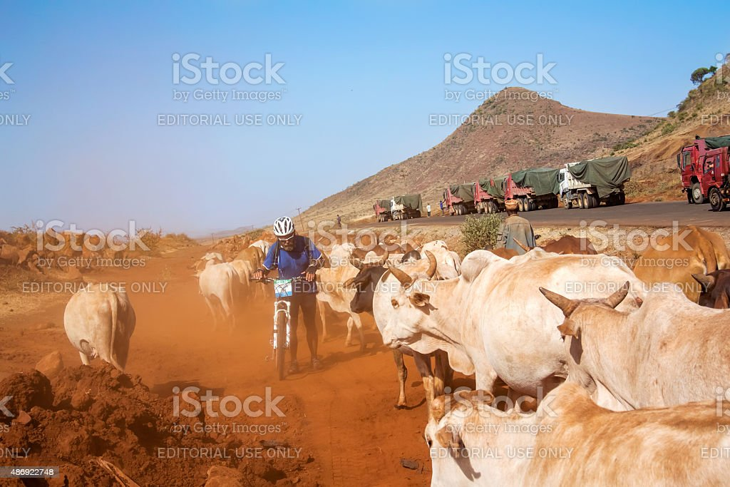 Cycling in Kenya stock photo