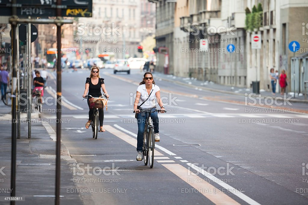 Cycling in Milan stock photo