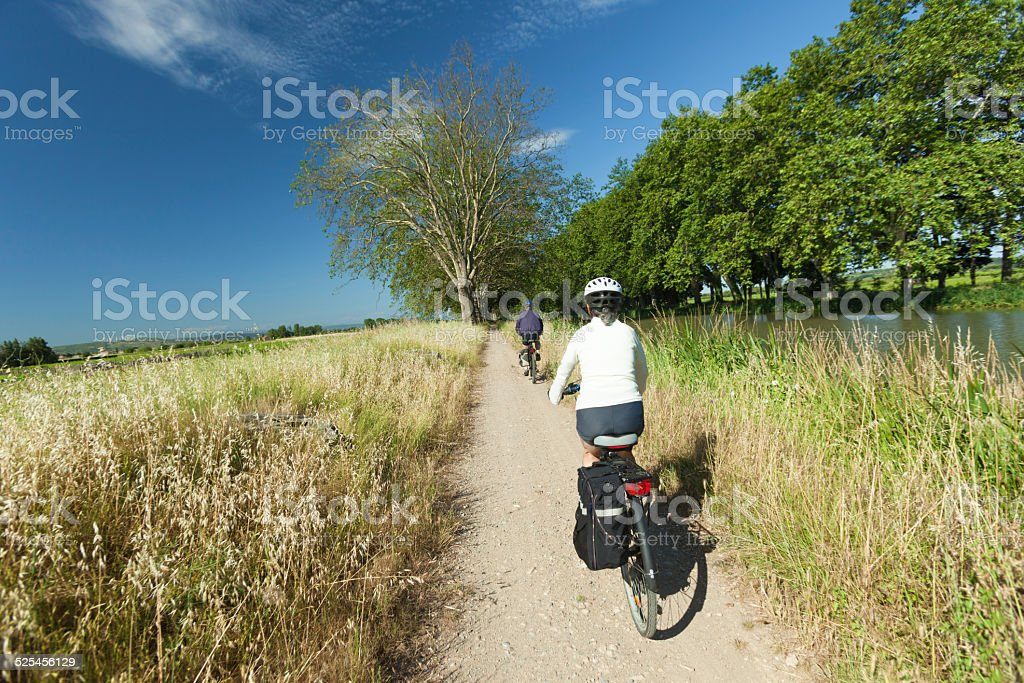 Cycling in nature stock photo
