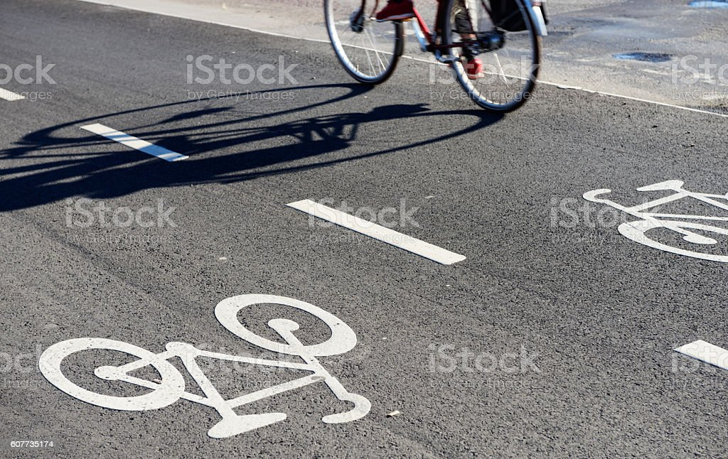 Cycling in the city, Stockholm. stock photo