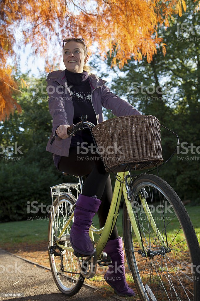 Cycling in the park stock photo