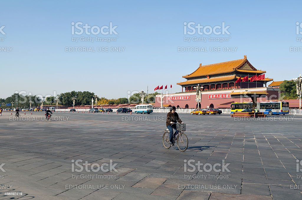 Cycling in Tiananmen Square Beijing China royalty-free stock photo