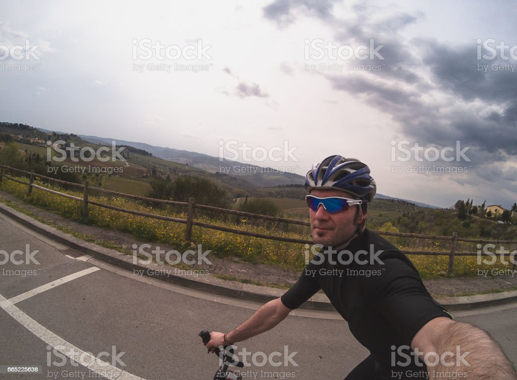 Cycling in Tuscany stock photo