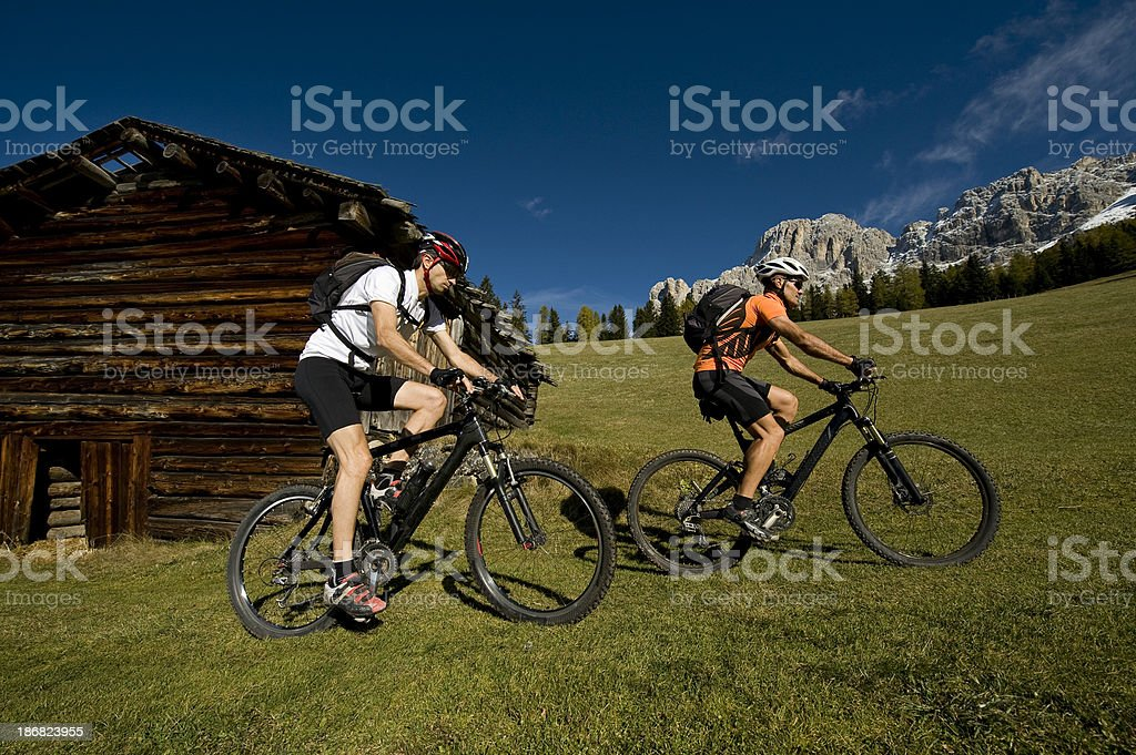 Cycling into the south Tyrolean Dolomites stock photo