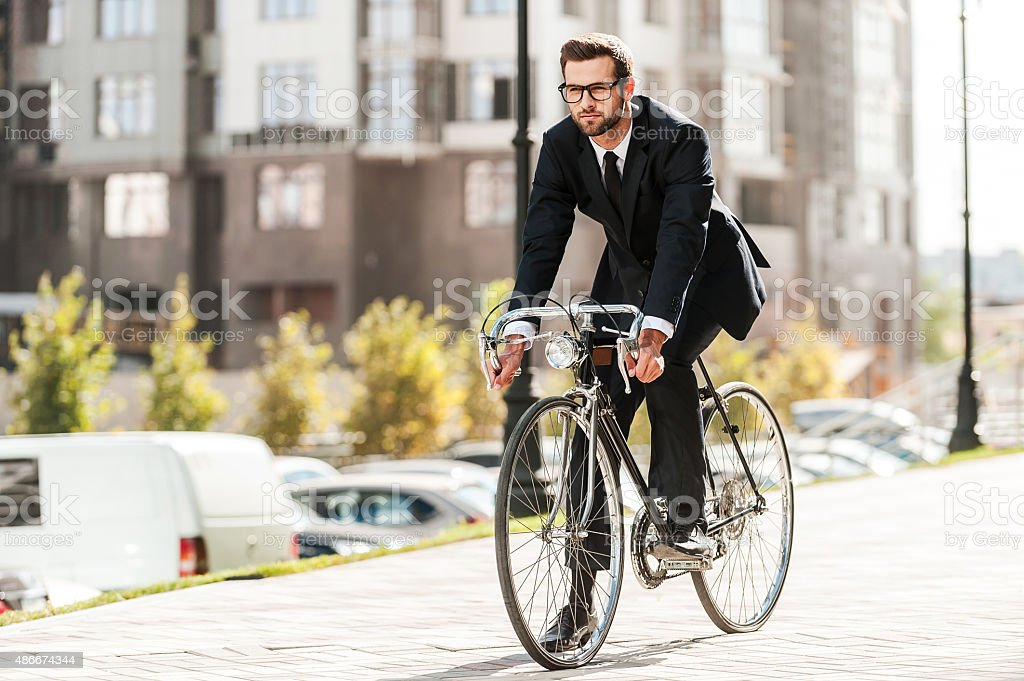 Cycling is the way to progress! stock photo