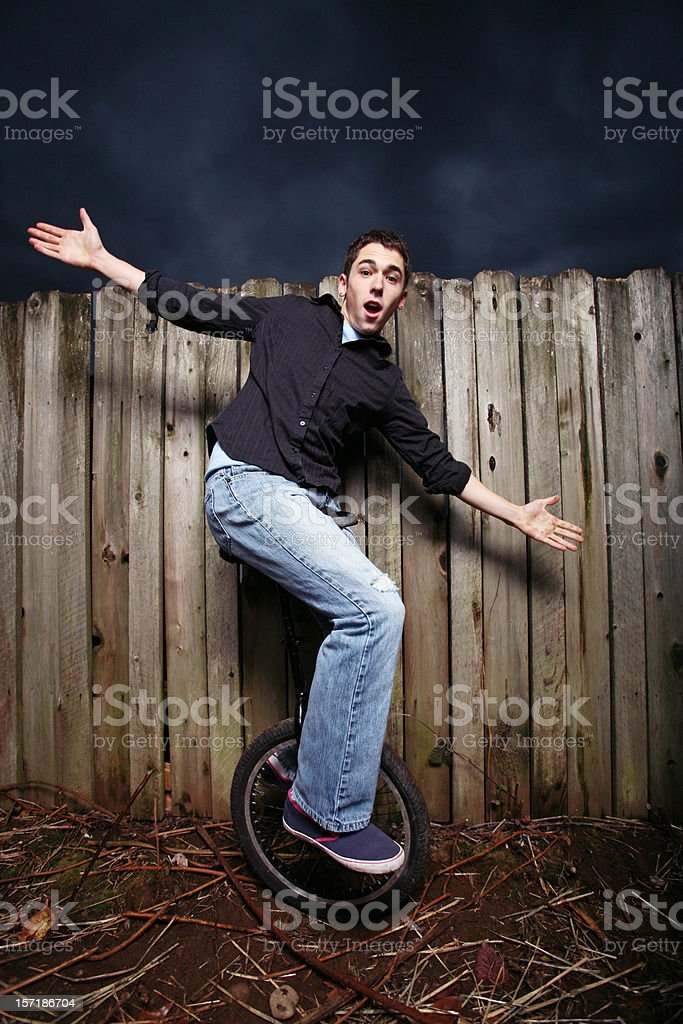 Cycling Male Shows Skills. royalty-free stock photo