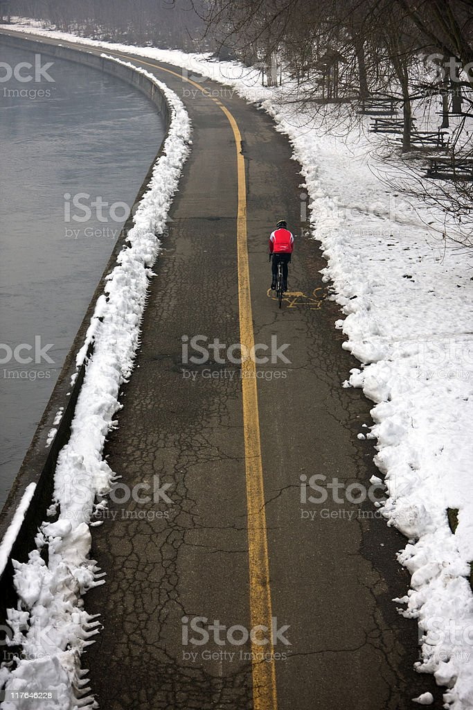 Cycling on a Bicycle Lane. Color image royalty-free stock photo