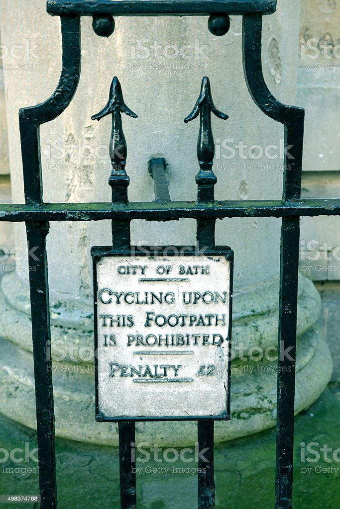 Cycling on footpath prohibited in Bath UK stock photo