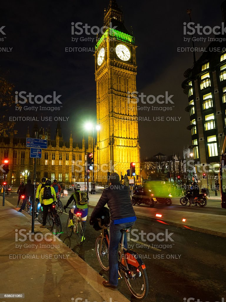 Cycling on London streets stock photo