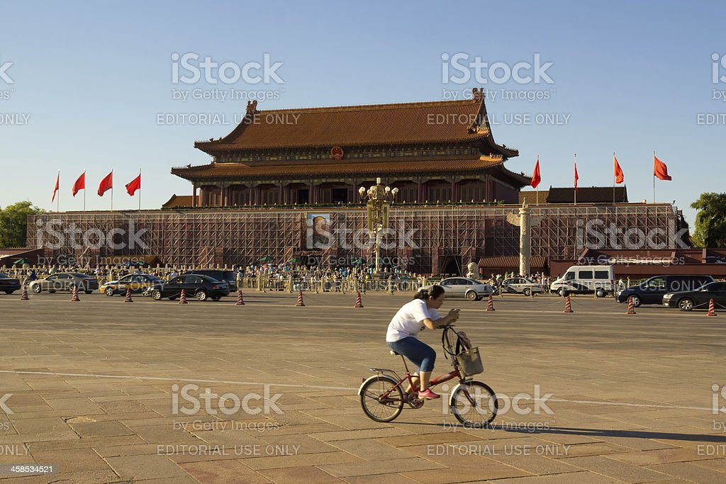 Cycling past Tiananmen stock photo