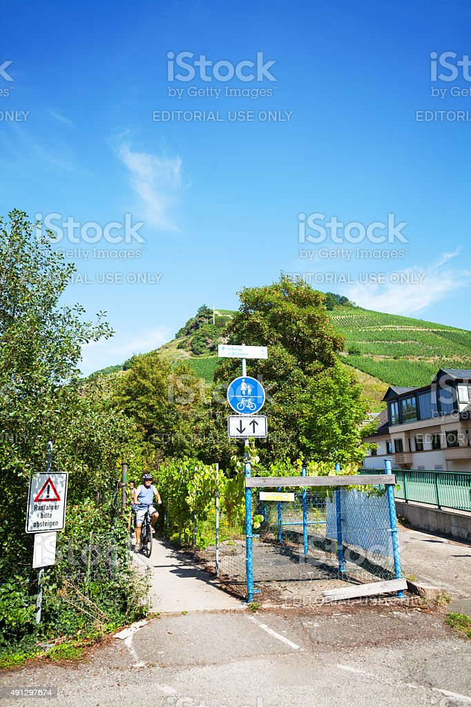 Cycling pathway in Zell at Mosel stock photo