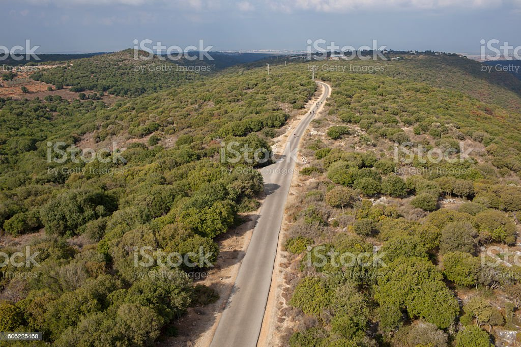 Cycling paved road outdoors. stock photo