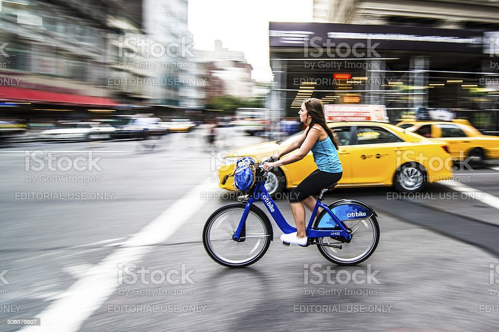 NYC cycling stock photo