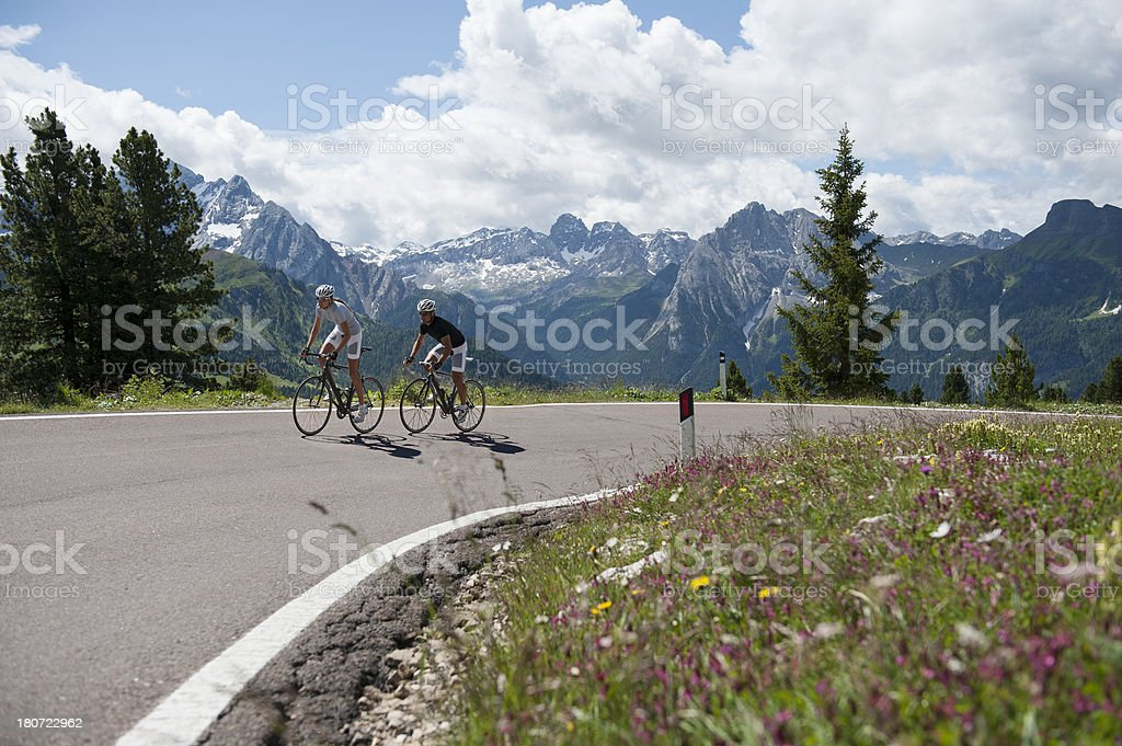 Cycling road holiday in the Dolomites stock photo