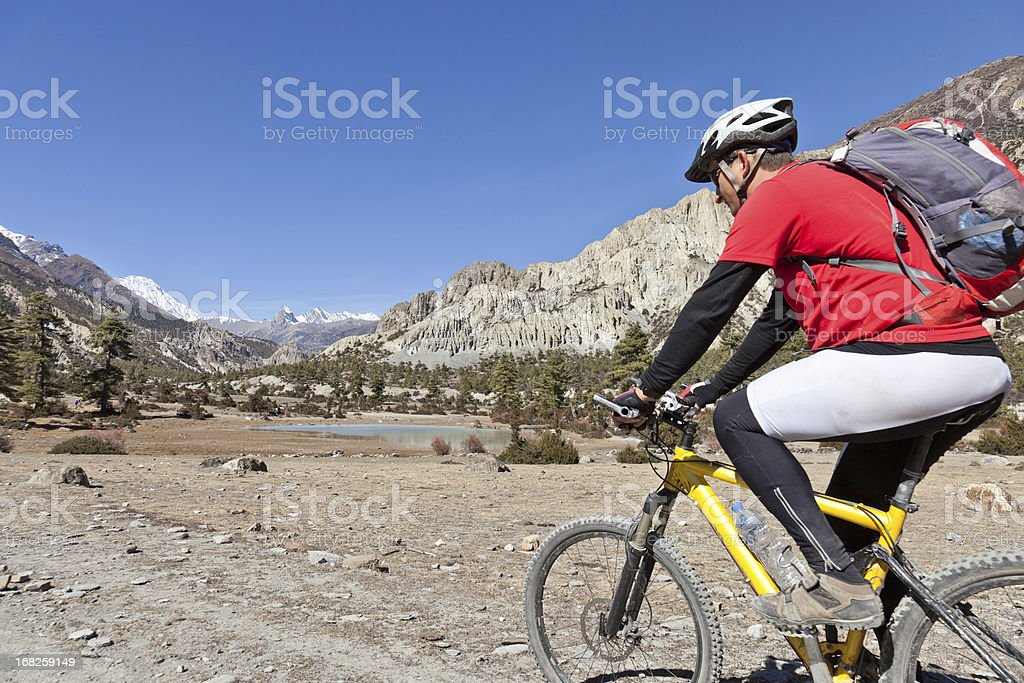 Cycling the Annapurna Circuit, Nepal stock photo