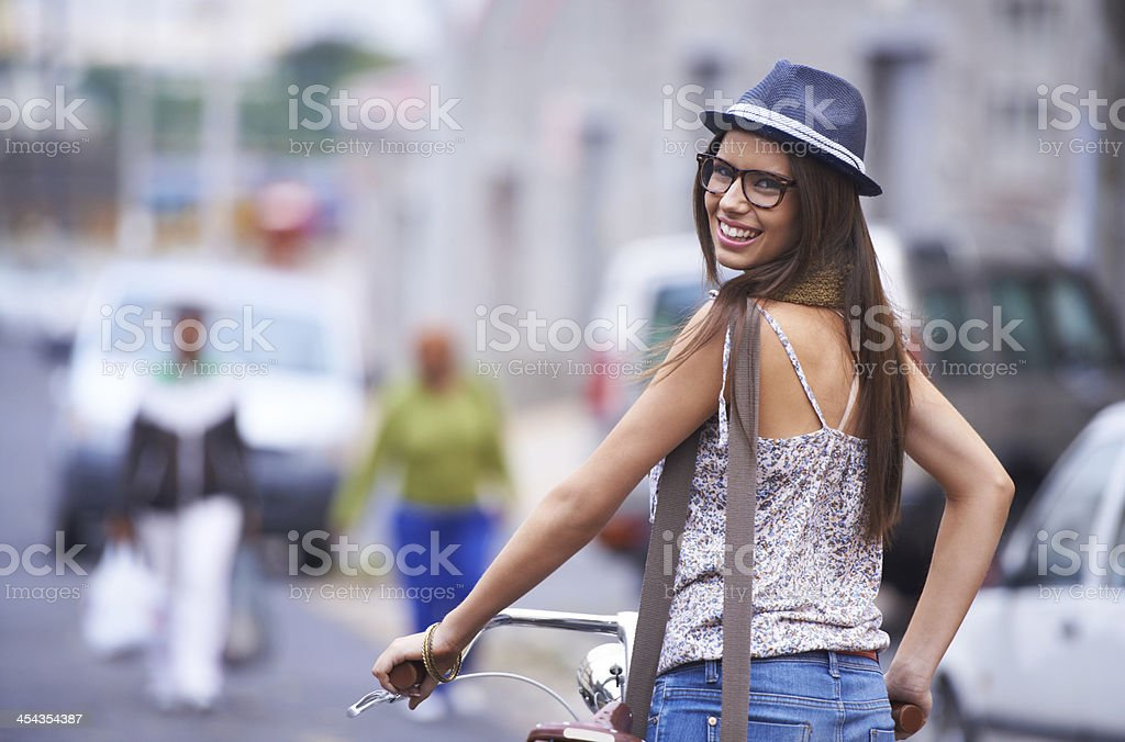 Cycling through the city stock photo