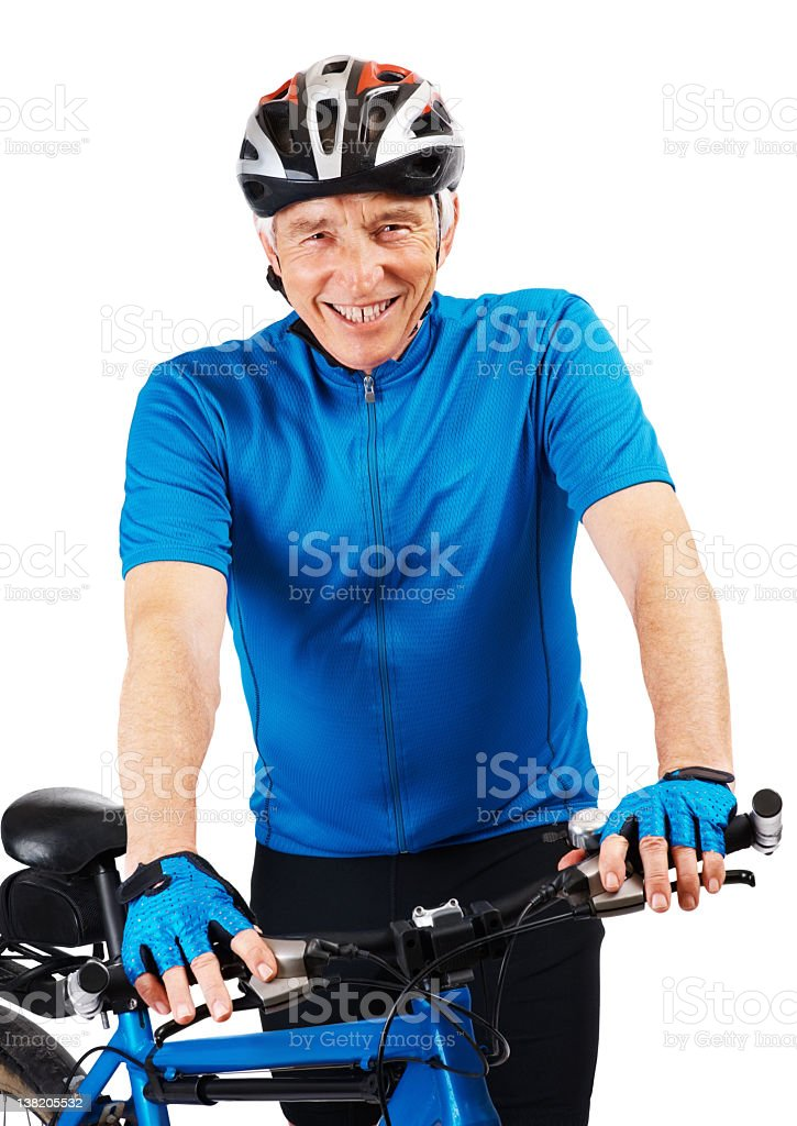 Cycling to be fit - Happy senior cyclist against white royalty-free stock photo