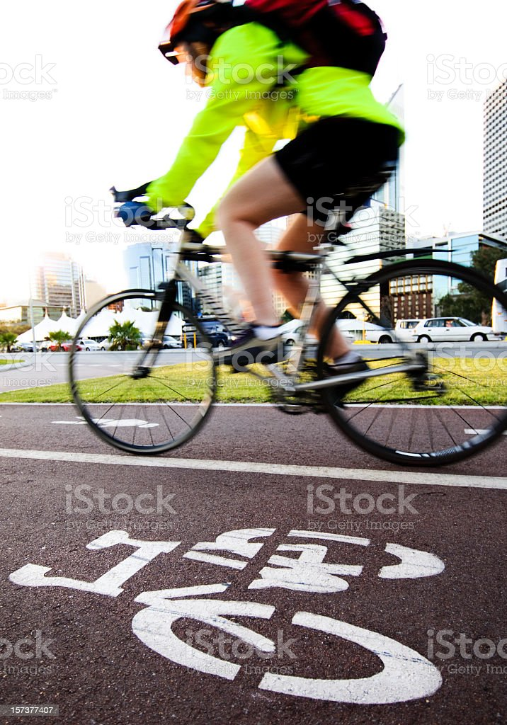 Cycling to Work royalty-free stock photo
