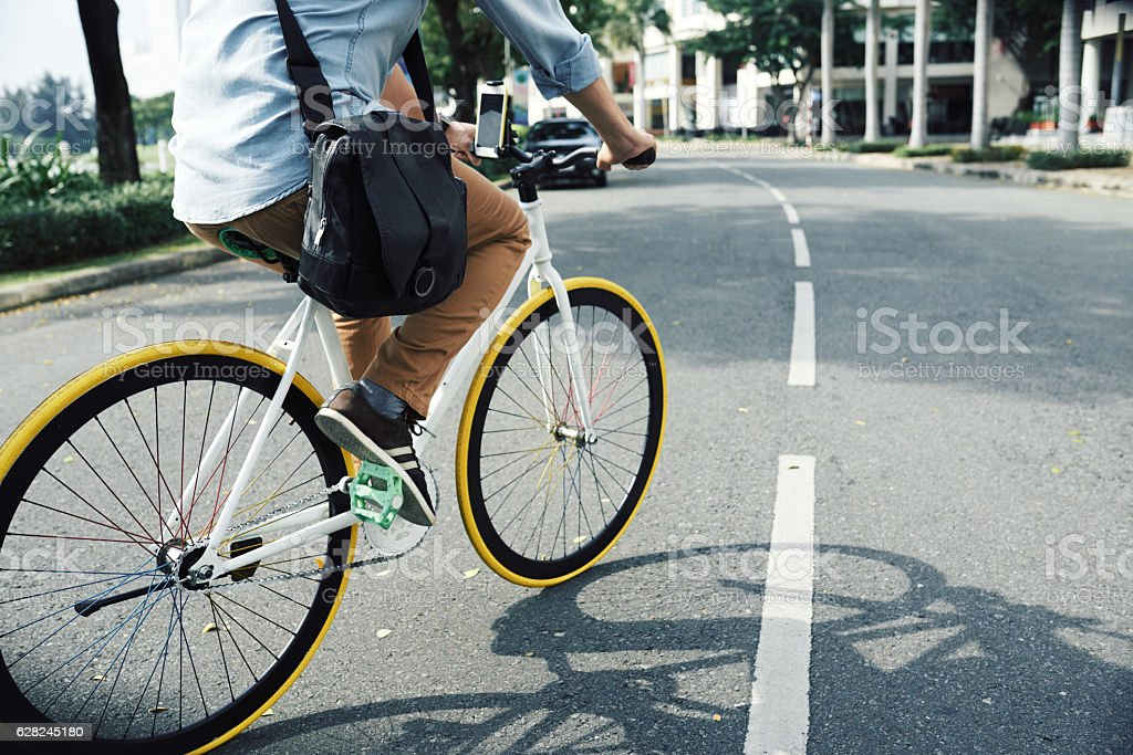 Cycling to work stock photo