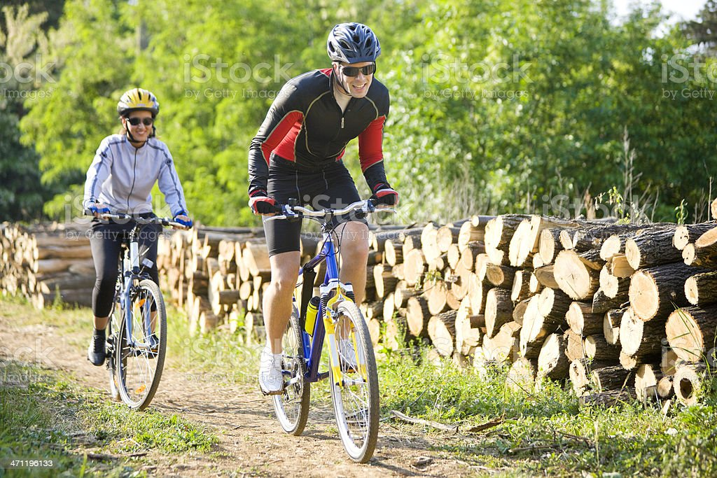 Cycling together royalty-free stock photo