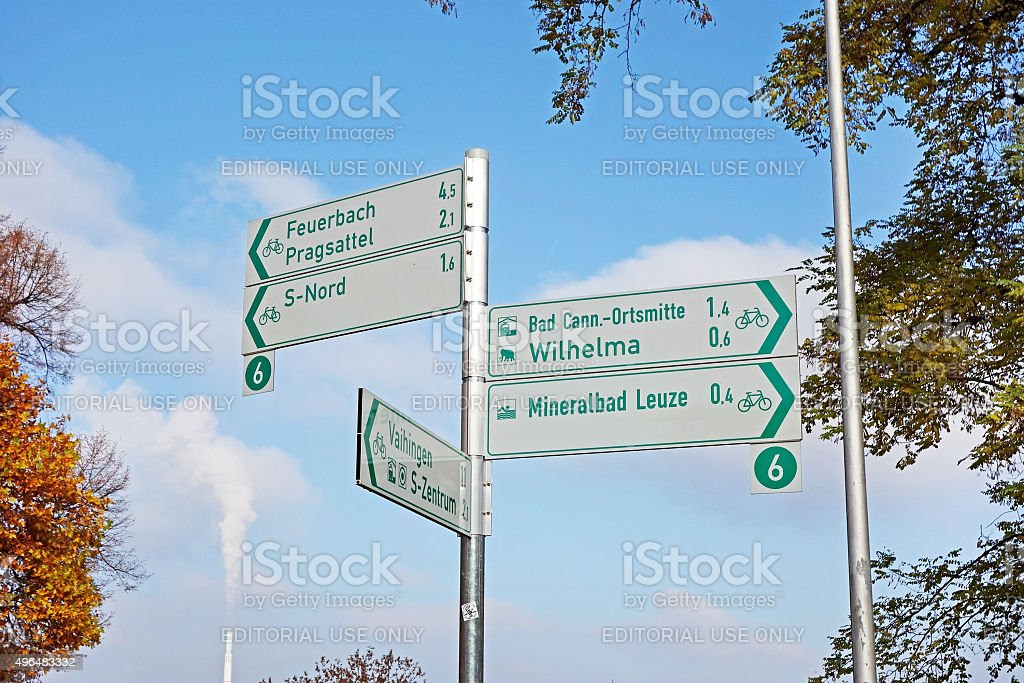 Cycling track signpost stock photo