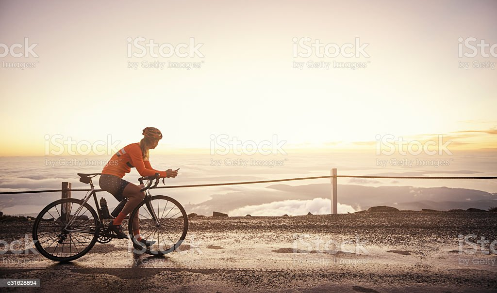 Cycling with a view stock photo