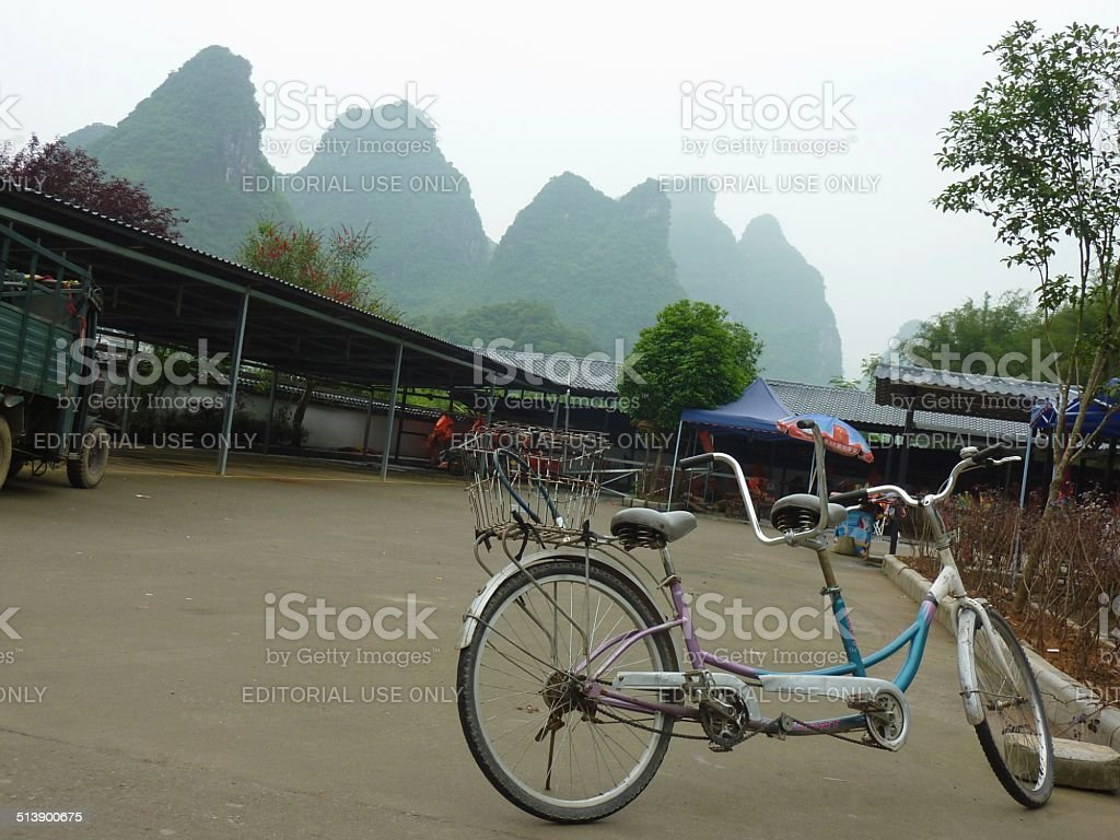 Cycling Yangshuo, Guangxi region stock photo