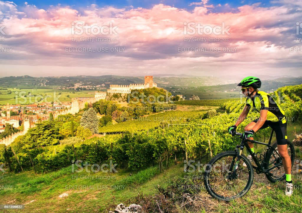 Cyclist admires the Soave castle views. stock photo