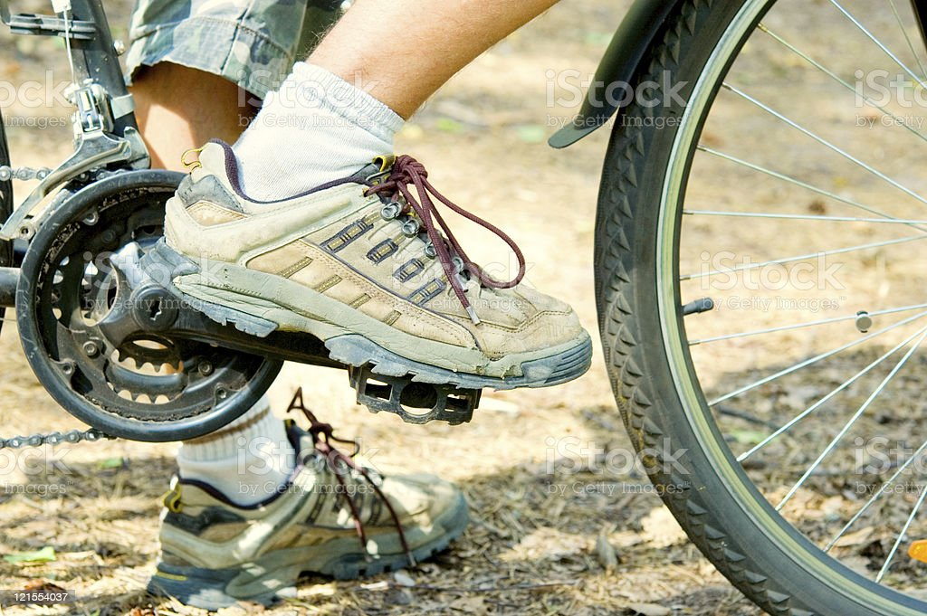 Cyclist and bicycle royalty-free stock photo