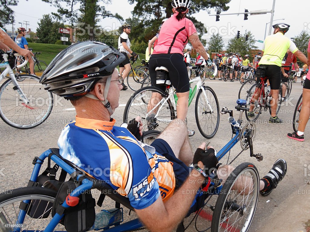 Cyclist anticipating the start of a fundraising bicycle ride stock photo