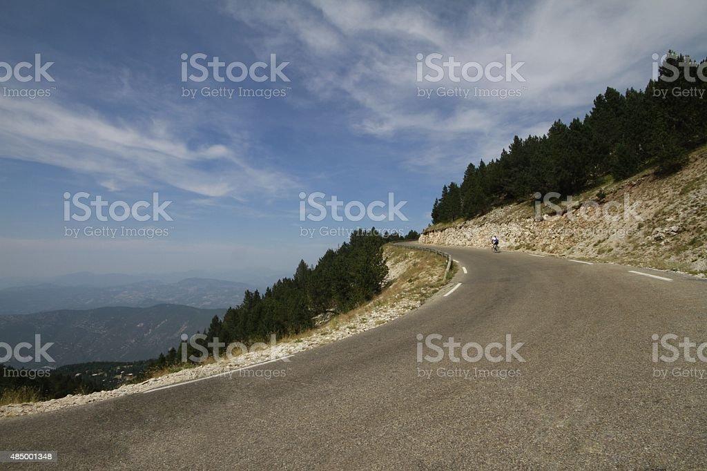 Cyclist ascending Mount Ventoux , France stock photo