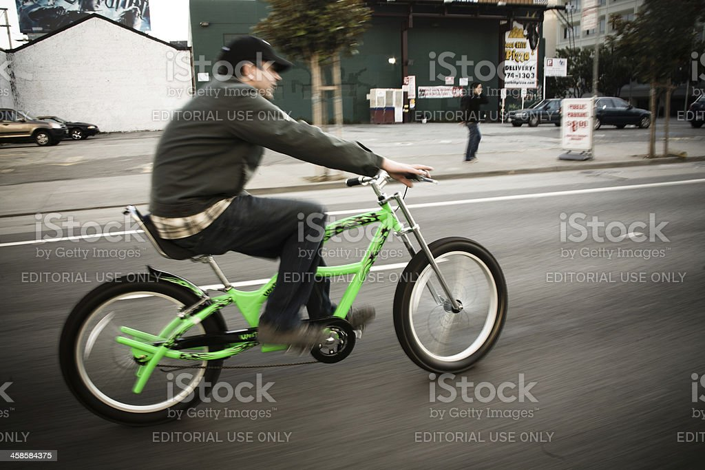 Cyclist at San Francisco Critical Mass stock photo